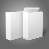 Two realistic white blank paper packages for stock illustration