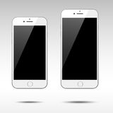 Two Realistic White Smartphones Stock Photos