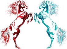 Two rear horses, fire and water Royalty Free Stock Photos