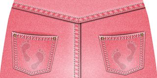 Two rear pink denim pocket Stock Photography