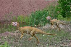 The two of reconstructions of Mesozoic reptiles and amphibians. July 9, 2017, JuraPark in Krasiejow, Poland. Mesozoic reptiles and amphibians close to the Stock Images