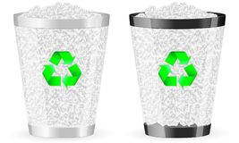 Recycle bin full. Two recycle bin on white background. Vector illustration Stock Photos