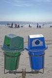 Two Recycle Bins By the Sea Stock Image