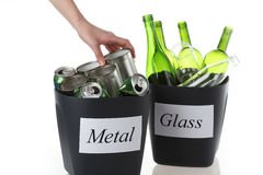 Two recycling bins Royalty Free Stock Images