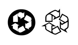 Two recycling symbol. In black and white.Eco concept. Illustration Royalty Free Stock Photo