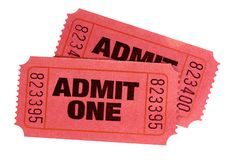 Two red admit one retro movie tickets isolated. Two red admit one retro movie tickets royalty free stock images