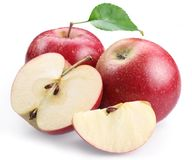 Two red apple and apple slices. Royalty Free Stock Photos