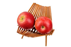 Two red apple in a basket Stock Images