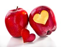 Two red apples and the cut-out heart. A close up, selective focus, it is isolated on white Stock Image