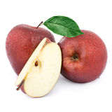 Two red apples and half Royalty Free Stock Images