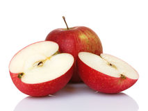 Two Red Apples One Halved Royalty Free Stock Photos