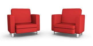 Two red armchairs. High quality 3D rendered image Royalty Free Stock Photography