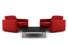 Two red armchairs with table isolated on white Stock Photography