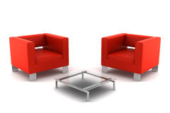 Two red armchairs with table isolated on white Stock Photos
