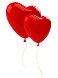 Two red balloons hearts Royalty Free Stock Photo