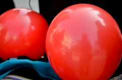 Two red balloons. Outdoor close up Royalty Free Stock Photo