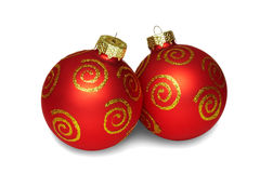 Two red balls of christmas. Stock Images