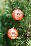 Two red balls christmas decoration Royalty Free Stock Photo