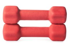 Two red barbells. Isolated on white background Stock Images