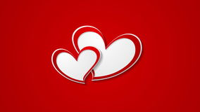 Two red beautiful hearts abstract video animation stock footage