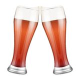 Two red beer glasses clink. Vector Illustration Stock Photo