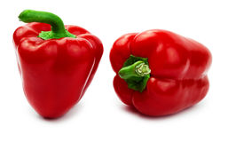 Two red bell pepper (paprika) isolated on a white Stock Photo