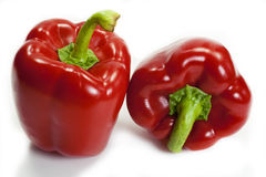Two red bell peppers Royalty Free Stock Photo