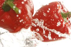 Two red bell peppers splashing in water Royalty Free Stock Photography