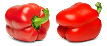 Two red bell peppers on a white isolated background. Close-up. royalty free stock photo