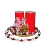Two red big candles Royalty Free Stock Image