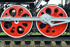 Two red big loco wheels Royalty Free Stock Photo