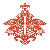 Two red birds sitting on branches. Decorative ornament based on traditional slavic paper cutting. Vector illustration Stock Images