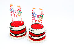 Two red birthday cakes with banners Royalty Free Stock Photography