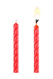 two red birthday candles isolated on white Royalty Free Stock Photography