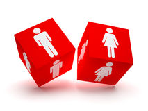 Two red blocks with male and female silhouettes. Two red blocks with male and female silhouette symbols Stock Photo