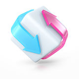 Two Red Blue Arrows Around Cube. 3d Render Illustration Stock Image