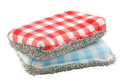 Two red and blue checkered abrasive pads Stock Photo