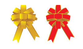 Two Red bow for gift Stock Photography