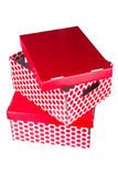 Two red boxes. Two red cardboard boxes isolated on white background Stock Photography