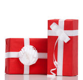 Two red boxes with presents Stock Photos
