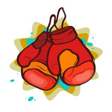 Two red boxing gloves. On an abstract background Stock Photo