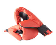 Two red boxing gloves composition Royalty Free Stock Photo