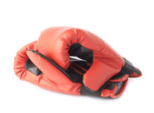Two red boxing gloves composition Stock Images