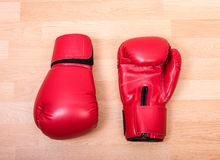 Two red boxing gloves Royalty Free Stock Photography