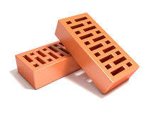 Two red bricks with rectangular holes Stock Image