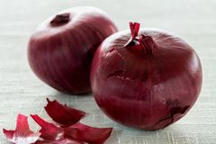 Red onion on a linen tablecloth. Two red bulbs on a linen tablecloth Stock Images
