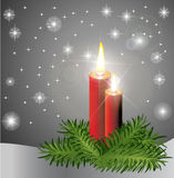 Red candles. Two red burning candles background Royalty Free Stock Images