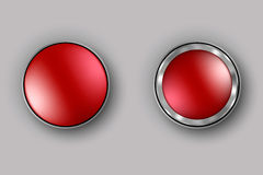 Two red buttons realistic vector Stock Photography