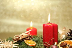 Two red candles Stock Photography