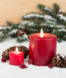Two Red Candles Royalty Free Stock Photography